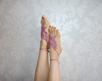 Pink tracery barefoot sandals, foot jewerly, knitted foot jewerly, pink foot decoration, m-004