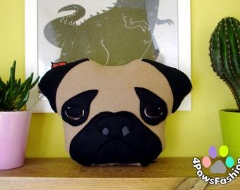 HUGO the Pug plush toy stuffed pillow birthday gift  / 4PawsFashion