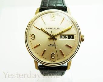 Caravelle Bulova Men's Watch 1968 Swiss 17 Jewel Manual Movement Gold Plated Case