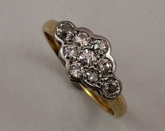 Victorian 18kt & Platinum Diamond Ring Circa 1895-1910