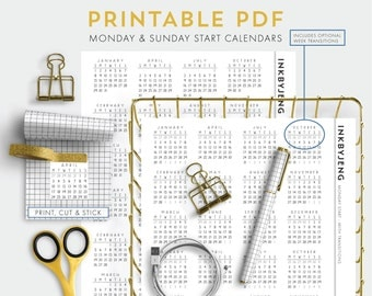 Printable PDF - 2017 Mini Calendars for Journal | Monday and Sunday Start | Optional month transitions included | Includes 5mm grid and 4mm