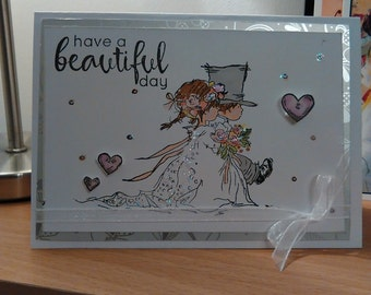 Handmade Wedding card - 'Have a beautiful day' A6 size. UK Seller