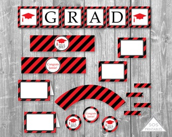 Graduation Party Printables, Editable Grad Party, Graduation Printables, Open House, Printable PDF, instant download party, black and red
