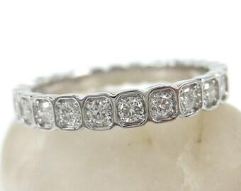 2.8mm Half-set Square Bezel Box Band round Diamonds - Wedding Band