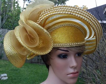 Gold Elegant Hat, church Hat by J.F.Y Collection