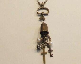 Necklace, bronze thimble, dangles, antique pull, chain, C, necklaces