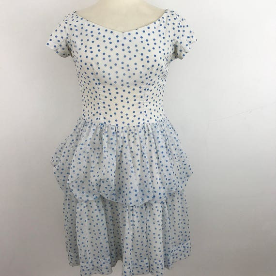 Original 1950s 1960s Spotty dress Blue white puffball skirt spotted 50s party Dress nylon Peck UK 14 pin up rockabilly VLV