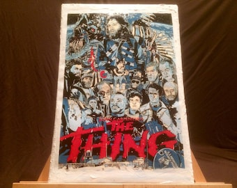 """THE THING John Carpenter Hand Painted Acrylic Paint on Stretched Canvas 12"""" x 16""""."""