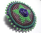 EMERALD AND AMETHYST beaded brooch/pin, ribbon flower inlay, bead embroidery, handmade