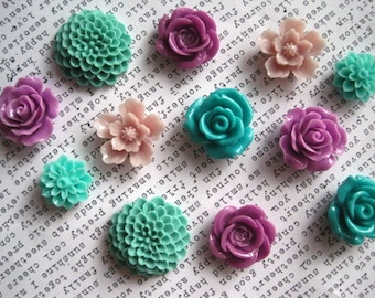Pretty Magnets, 12 pc Flower Magnets, Lilac, Sage, Teal Kitchen Decor, Girl's Room Decor, Housewarming Gift, Hostess Gift, Wedding Favors