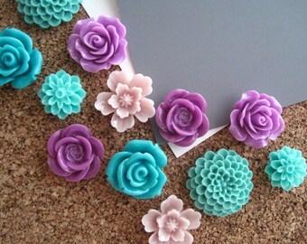 Thumbtack Set, 12 pc Flower Pushpins, Lilac and Teal, Office Supply, Bulletin Board Thumbtacks, Wedding Decor, Gift