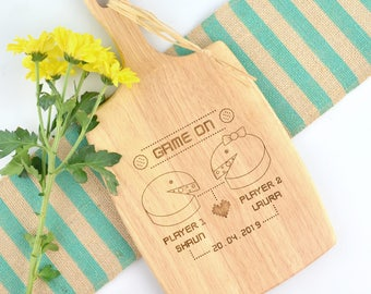 1 x Engraved Retro Inspired Wedding Paddle Chopping Board