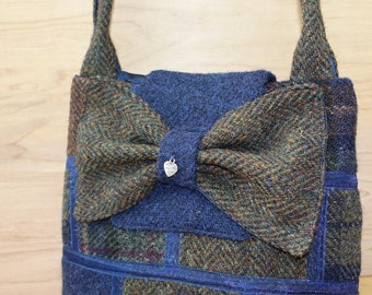 Rustic navy and chestnut patchwork Harris Tweed small bucket bag with bow