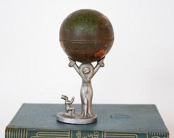 Vintage Globe Pencil Sharpener - Miniature Globe - Litho Toy Globe - Antique World Globe - Metal Globe - Rare Globe Gift - Unique Gift