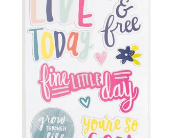 Dear Lizzy - Lovely Day Collection - Chipboard Phrase Stickers - 23 pieces - 376956