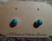 Authentic Navajo,Native American,Southwestern sterling silver aqua green turquoise stud earrings. 5mm stones.Made to order