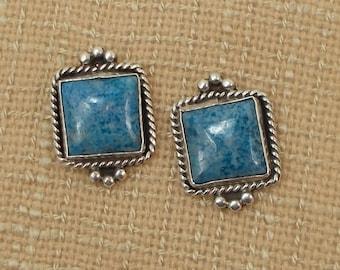 Sterling Silver and Denim Blue Stone Southwest Stylle Earrings  2848