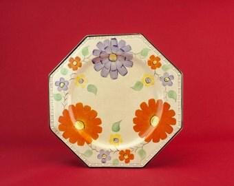 Vintage Pottery Floral Retro Medium Serving DISH Dinner Art Deco Colourful Cream Fruit Cake English Circa 1940 LS