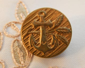 Anchor with Wheat Sheaf Vintage Brass Button