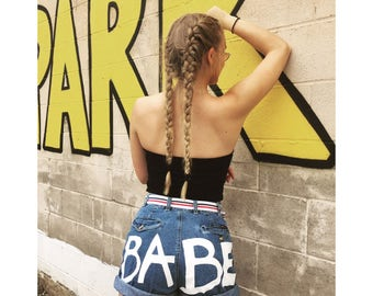 UR SUCH A BABE handpainted up cycled high waisted cuffed denim shorts// babe booty shorts