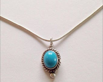 Blue Turquoise Sterling Silver Snake Chain Necklace