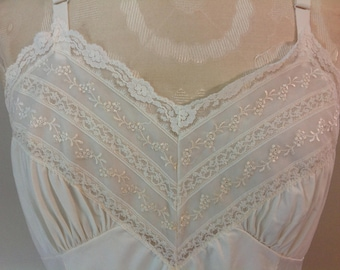 Vintage Full Slip Ivory / Cream Slip by Gaymode Penny's Lacey Full Body Slip