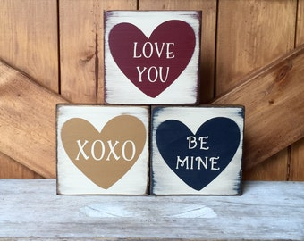 Wooden Valentines Day Signs, Rustic Conversation Heart Blocks