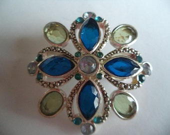 Vintage Signed Monet Silvertone/Blue Brooch/Pin