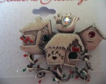 Vintage Kerrisa Creations AB Stones Sparkling Pale Blue Enamel Birdhouses Brooch/Pin  Very Cute