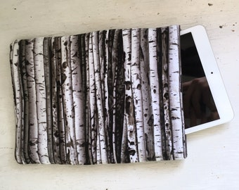 Winter Aspen Tablet Sleeve - black white gray tablet ipad case sleeve