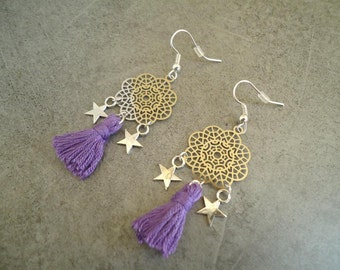 Silvery earrings with a violet pompom and stars - Gypsy chic jewelry - Bohemian stye