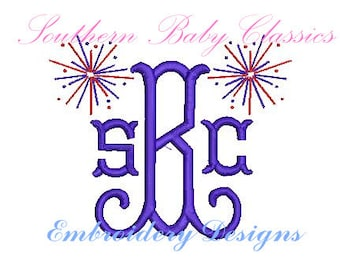 Firework Fireworks Fourth of July Memorial Day Patriotic Monogram Mini Add On  Design File for Embroidery Machine Monogram Instant Download