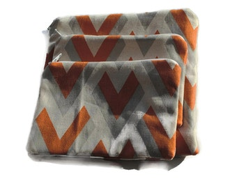 Reusable Zipper Snack Sandwich Bags set of 3 Orange Gray Beige Cotton Twill
