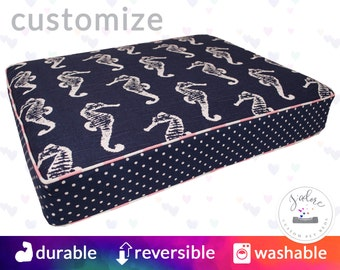 navy and pink designer dog bed with insert design your own