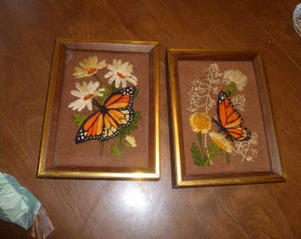 Two Vintage Sewn Pictures