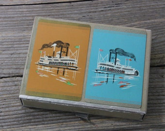 Vintage 2-deck box set of cards, vintage Bridge  with river boat paddle wheel design, Congress Playing Cards