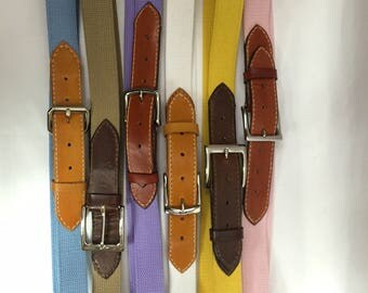 Hand Crafted Leather & Canvas Belt