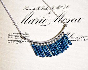 Blue glass beads fringe necklace - ethnic necklace, boho necklace, fringe necklace, statement necklace
