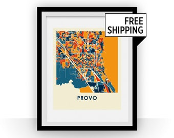 Provo UT Map Print - Full Color Map Poster