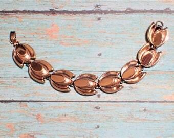 Mid Century Modern Copper Tulip Link Bracelet Signed Renoir