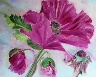 poppy painting, pink poppies, flower painting, original painting, oil painting, wall hanging, floral art