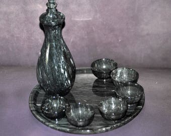 Vintage Saki Set Gray Marble - Decanter 6 cups and tray