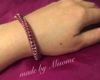 Chainmail bracelet in red and pink, handmade chain mail bracelet, round mail chain link  chainmaille jewelry made by misome