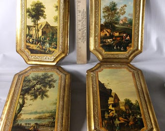 Antique Vintage Florentine Italy French Shabby  Gilt Wood Gold Wall Plaques Set Of Four.epsteam