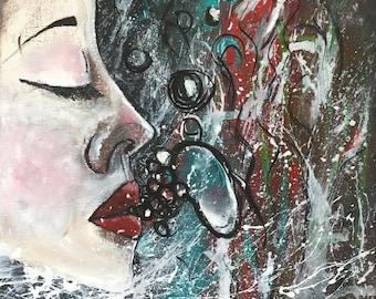 Blow - Acrylic Painting - Fine Art - Face - Under Water - Bubbles - UK Art - Original Painting - Home Decor - Unique Art - Buy Art