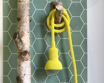 Lampe, garden pendant, crocheted in bright yellow, 6 meter cord