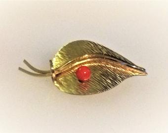 Vintage Gold Toned Modern Leaf Brooch with Coral Bead - Marked Krementz