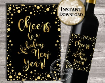 New Years Wine Label, New Years Party Decor, New Years Party Ideas, New Years Wine Bottle Sticker, 2017 New year, PRINTABLE INSTANT DOWNLOAD