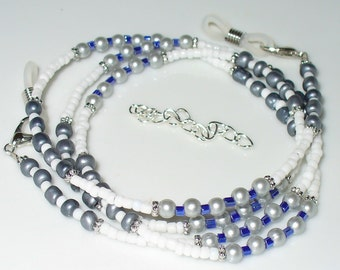 Necklace or chain, grey, white, silver, Blue 71 cm (143)