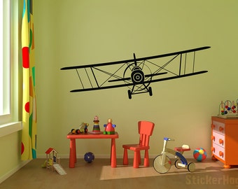 "Airplane Wall Decal Biplane Vinyl Wall Graphics 50""x15"" Bedroom Nursery Decor"